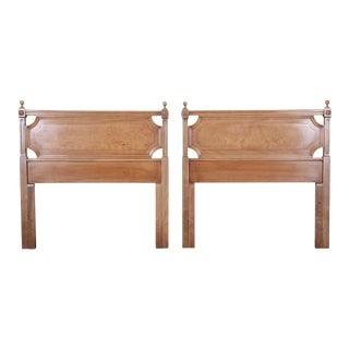 American of Martinsville Mid-Century Modern Cherry and Burl Wood Twin Headboards, Pair For Sale