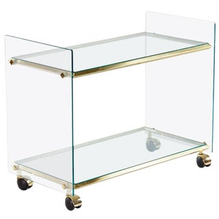 Vintage Italian Brass and Glass Bar Cart, 1950s