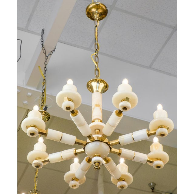 Brass Onyx Brass Eight Arm Chandelier For Sale - Image 7 of 11