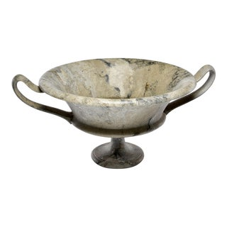 Italian Hand Carved Marble Vessel With Handles For Sale