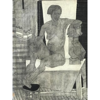 1929 Cubist Charcoal Nude Drawing For Sale