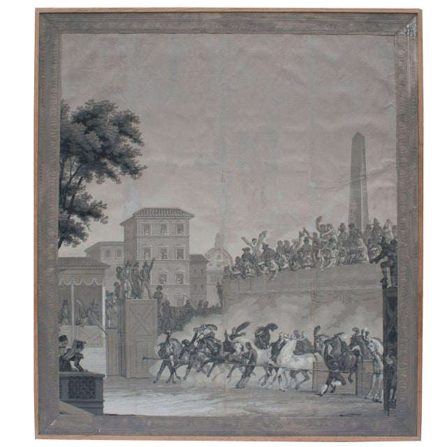 Grisaille Panel Depicting Neapolitans Watching Horse Racing For Sale - Image 10 of 10
