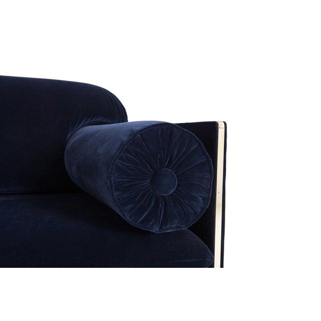 Gold Italian Glam Armchairs in Dark Blue Velvet & Brass For Sale - Image 8 of 10