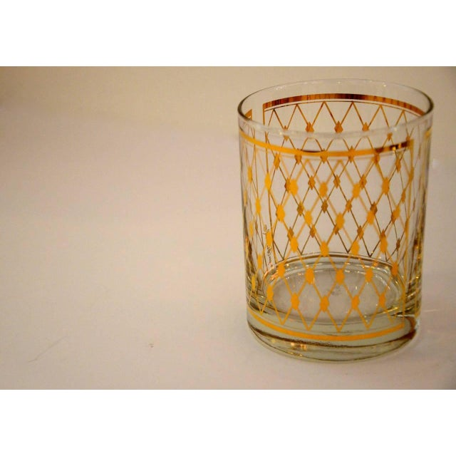 """Set of Four Georges Briard """"Harlequin"""" Pattern Double Old Fashioned Glasses - Image 3 of 4"""