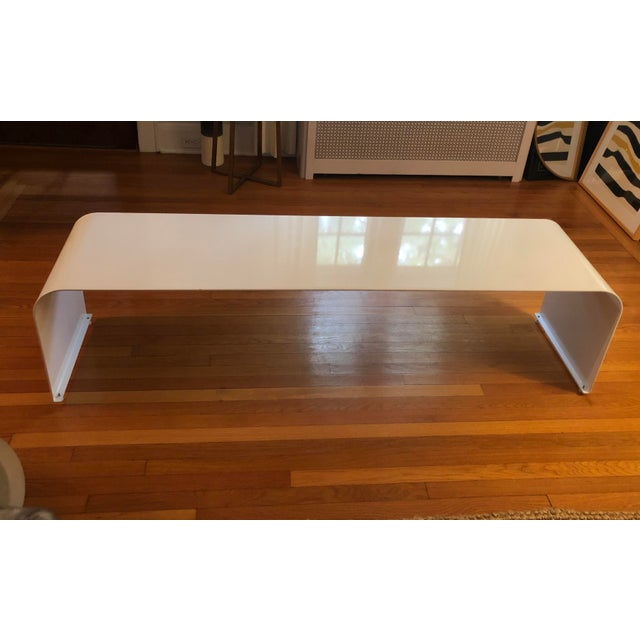 1970s 1970s Vintage Steel Waterfall Dining Bench For Sale - Image 5 of 5