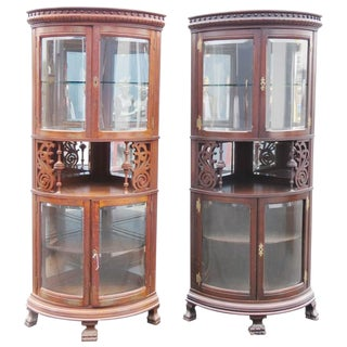 Rare Companion Pair of Oak Carved Corner Cabinets For Sale