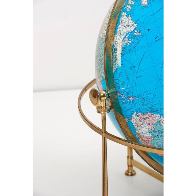 Hollywood Regency Huge Vintage Illuminated Globe With Brass Stand For Sale - Image 3 of 13