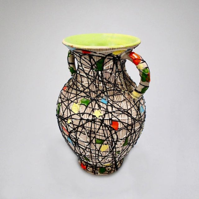 Mid-Century Fratelli Fanciullacci Italian Art Pottery Vase With Handles For Sale In Detroit - Image 6 of 8