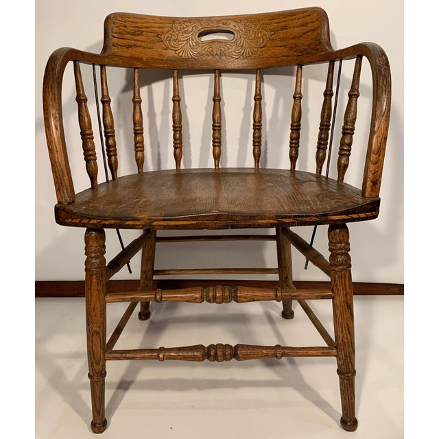 1900 - 1909 Antique Oak Captain's Chair For Sale - Image 5 of 8