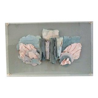 1980s Contemporary Paper Sculpture Under Plexigass For Sale