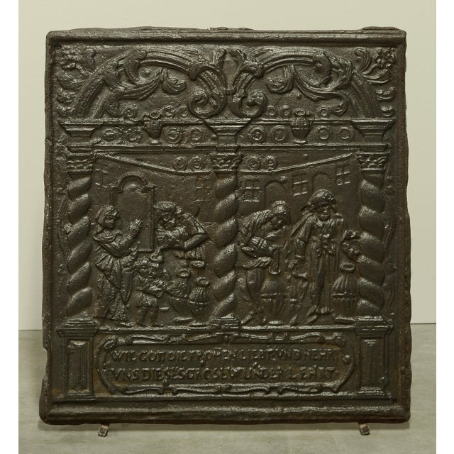 Unique 16th Century Antique Fireback, Biblical Wine Feast For Sale - Image 6 of 6