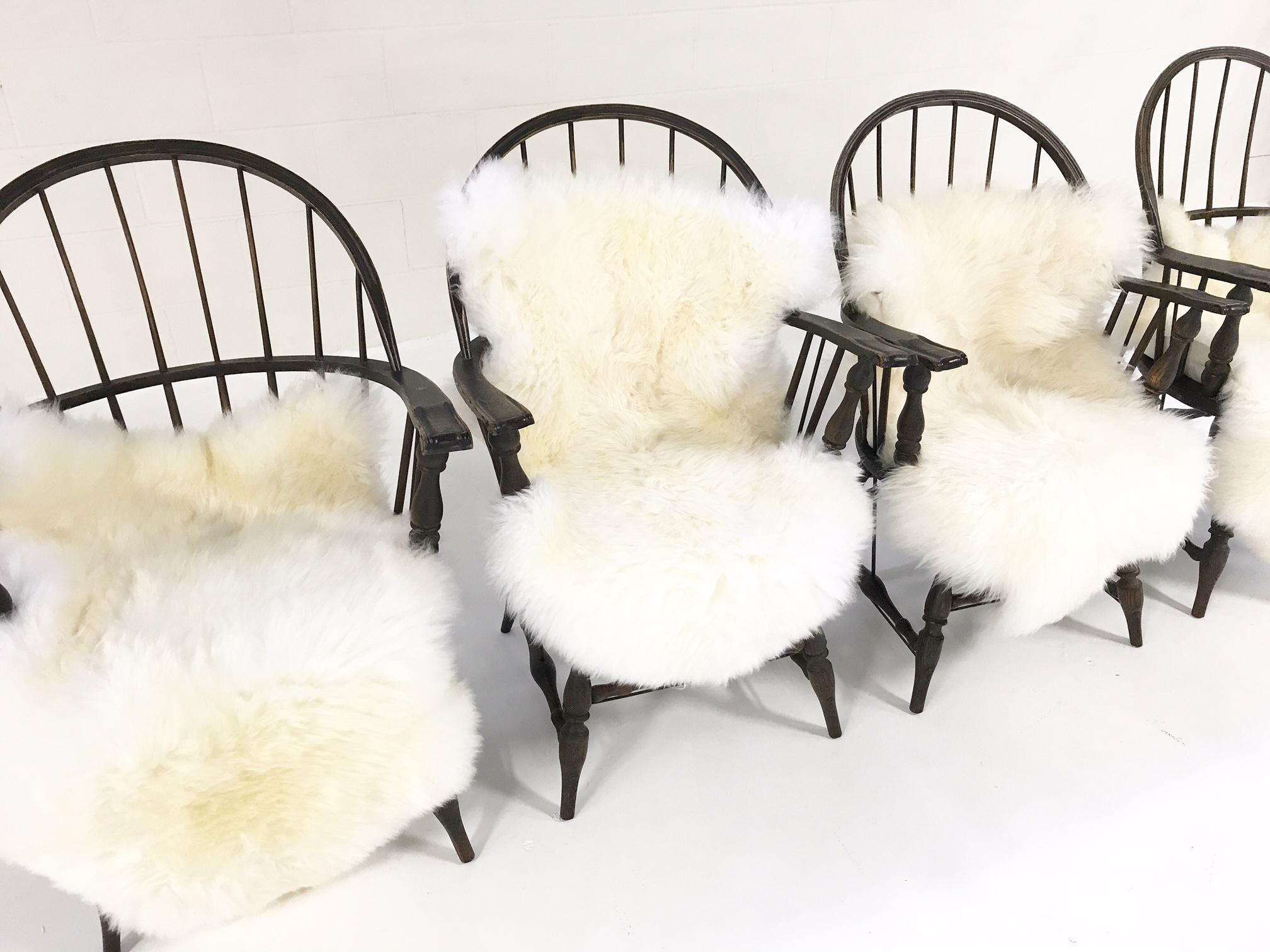 Set Of 4 Beautiful Windsor Chairs With 4 New Zealand Sheepskin Throws    Image 2 Of