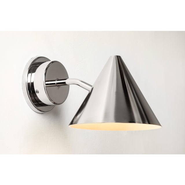Hans-Agne Jakobsson Hans-Agne Jakobsson 'Mini-Tratten' Polished Nickel Outdoor Sconces - a Pair For Sale - Image 4 of 8