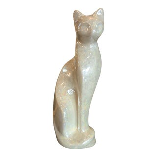 1970s Vintage Rosenthal Netter Iridescent Ceramic Cat Figure For Sale