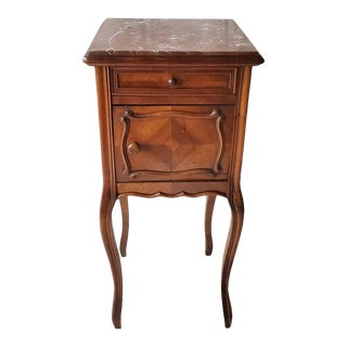 19th Century French Louis XV Style Mahogany Inlaid Bedside Table For Sale