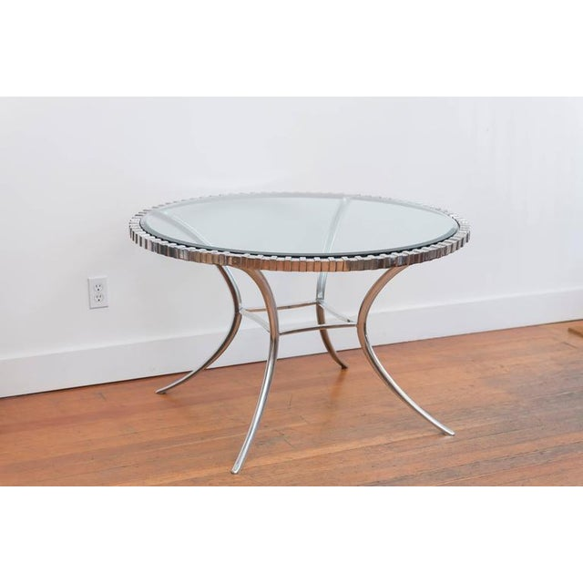 Silver Thinline Polished Aluminum Klismos Table For Sale - Image 8 of 9