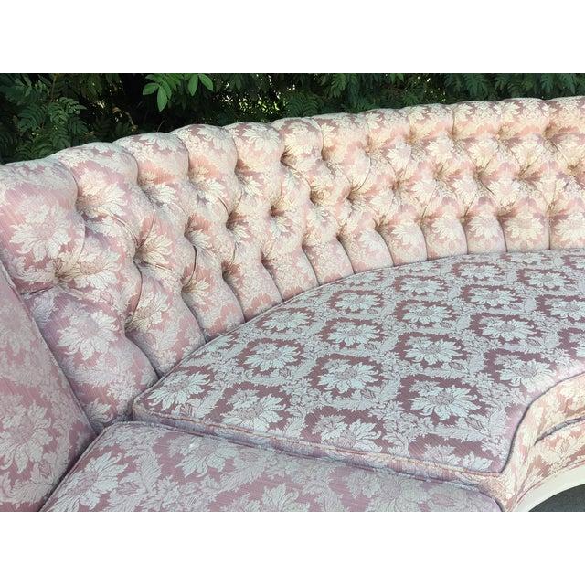 Vintage 4-Piece Hollywood Regency Pink Damask Tufted Sectional Sofa For Sale - Image 4 of 8