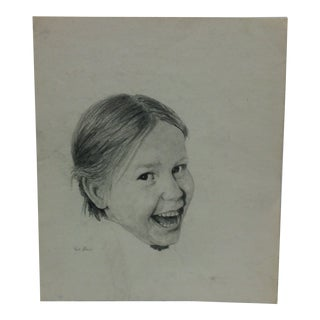 """Original Drawing on Paper """"Smiling Girl"""" by Rex Black For Sale"""