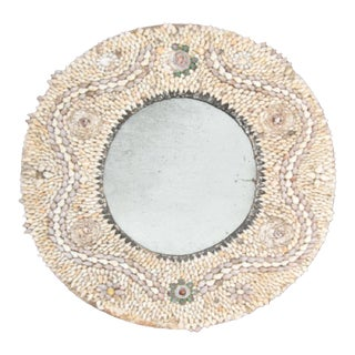 Antique Round Shell Encrusted Mirror