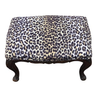 Leopard & Wood Foot Stool For Sale