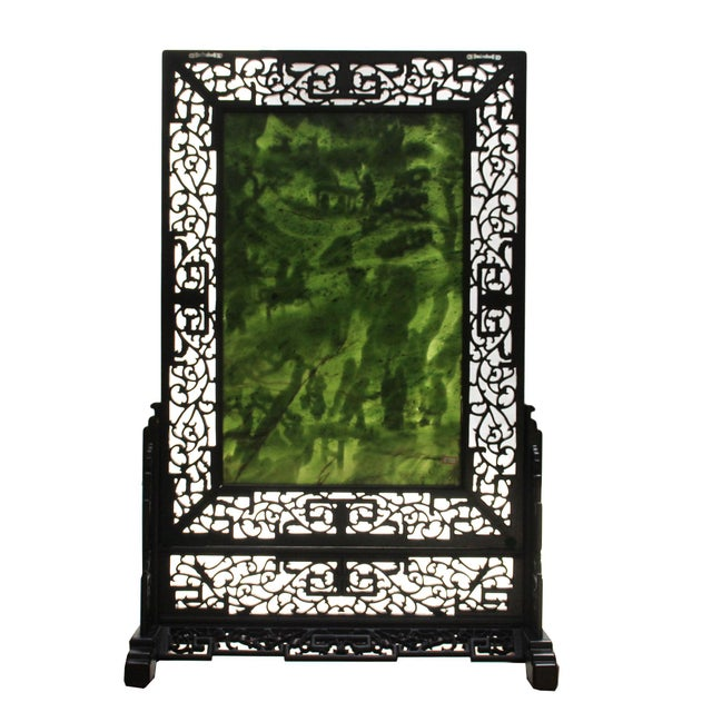 1970s Chinese Vintage Spinach Green Stone Scenery Carving Table Top Wall Panel Displa For Sale - Image 5 of 13