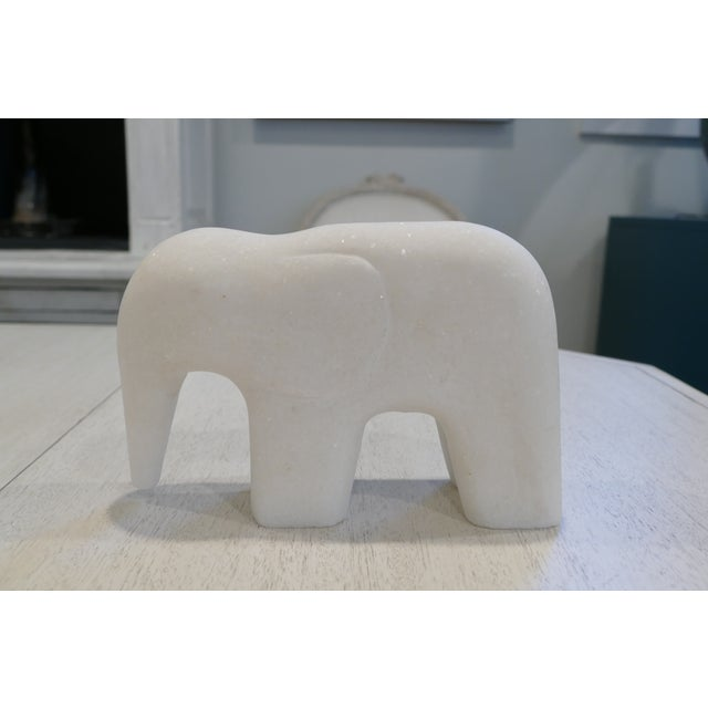 White Marble Elephant Contemporary Figurine For Sale In New York - Image 6 of 8