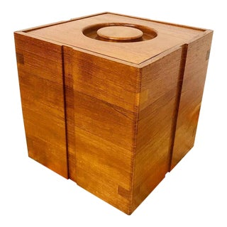 Danish Teak Ice Bucket & Tongs For Sale