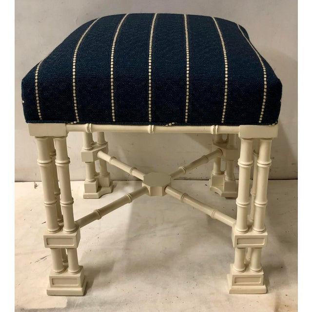 1970s Pair Erwin Lambeth Chippendale Style Ottomans For Sale - Image 5 of 9
