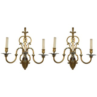 French Louis XV Style Brass and Nickel Sconces - a Pair
