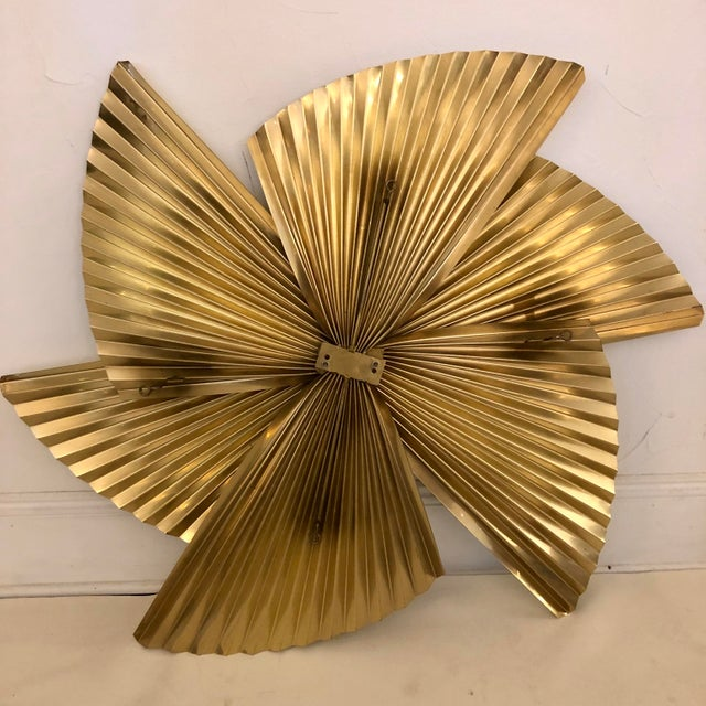 Brass Curtis Jere Brass Pinwheel Wall Sculpture For Sale - Image 8 of 9