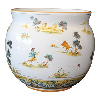 Vintage Ernan Italian Hand Painted Ceramic Cache Pot For Sale