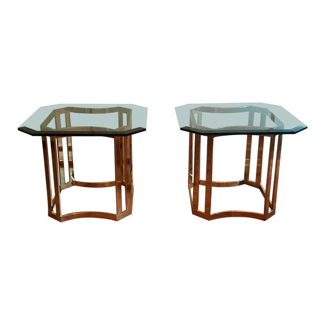 Milo Baughman Style Side Tables - A Pair - Image 1 of 8