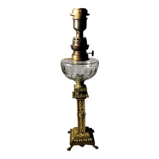 French Empire Style Napoleon III Bronze Column Shaped Table Lamp For Sale