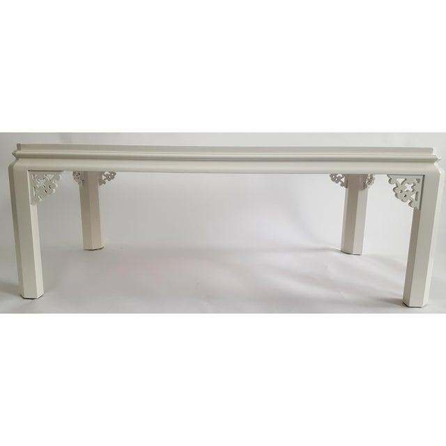 Henredon Vintage Henredon Chinoiserie White Coffee Table For Sale - Image 4 of 4