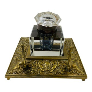English Brass Inkwell Desk Set For Sale