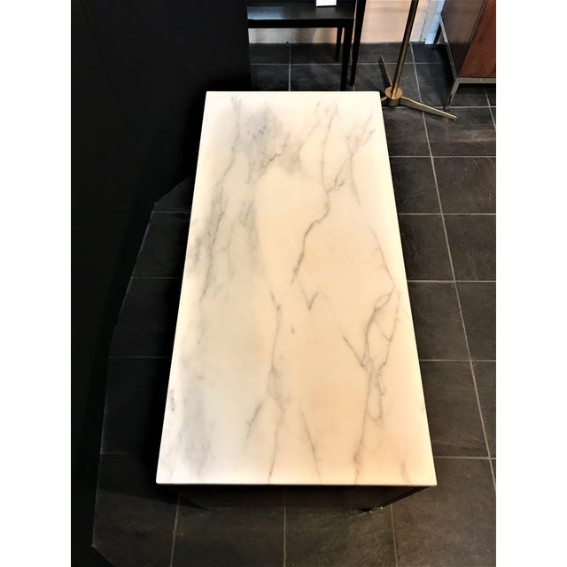 Marble Florence Knoll Walnut Credenza With Calacatta Marble Top and Finished Back For Sale - Image 7 of 8