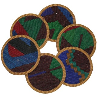 Rug & Relic Kilim Zenneciler Coasters - Set of 6 For Sale