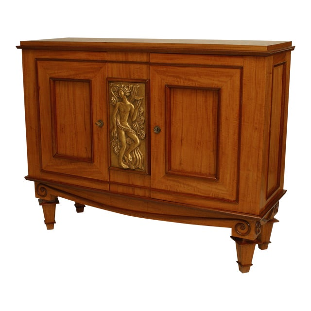French Art Deco Satinwood And Mahogany With Gilt Trim Door Commode For Sale