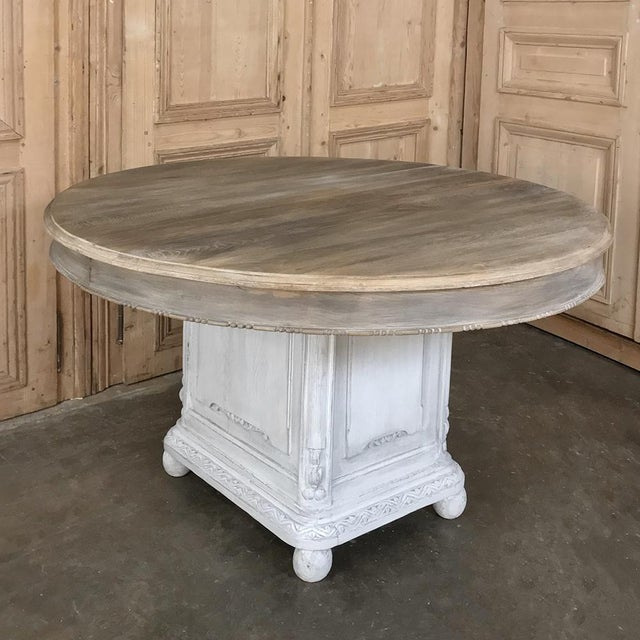 19th Century French Louis XVI Painted Pedestal Table For Sale - Image 4 of 13