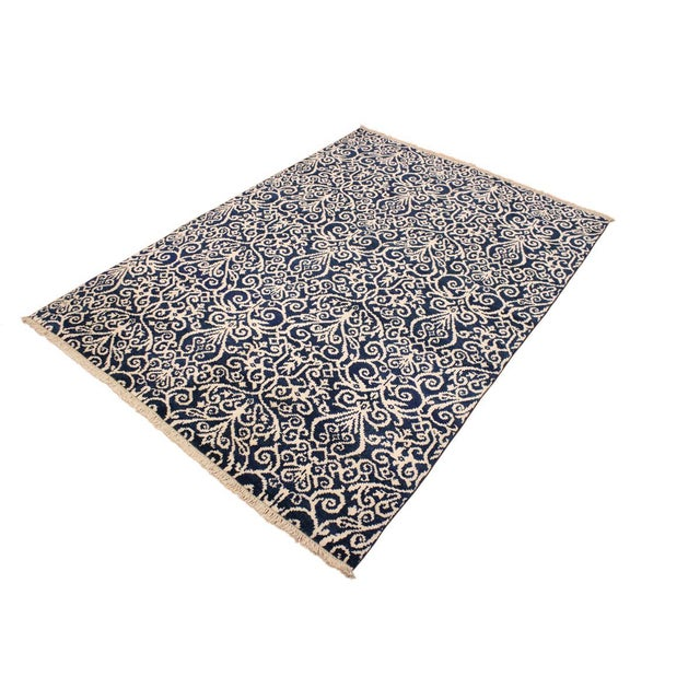 Contemporary Cryena Modern Yajaira Blue/Ivory Wool & Viscouse Rug - 5'0 X 7'0 For Sale - Image 3 of 8