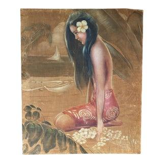 1940s Portrait of a Polynesian Girl Oil Painting on Velvet by Roger Fowler For Sale