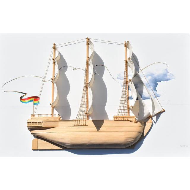 Weston Jandacka 'Sail Boat No. 2' 3D Sculpture Painting For Sale - Image 4 of 13