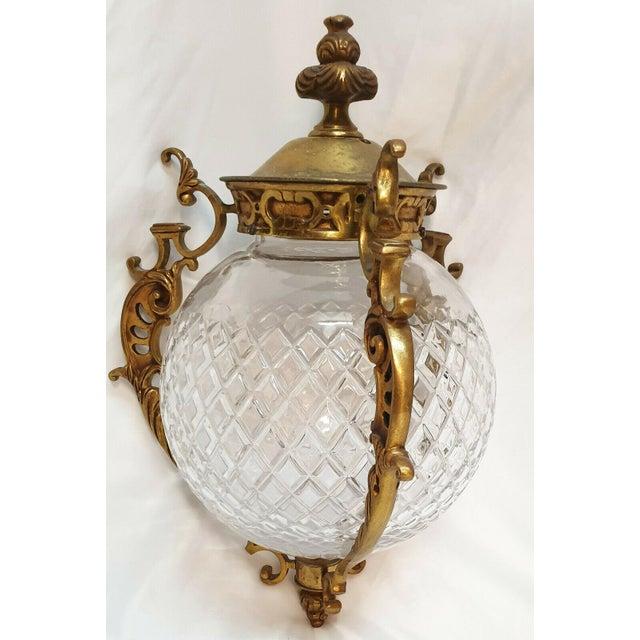 Paris estate item. Antique c1880-90 Baccarat France cut lead crystal with bronze elements Ceiling Fixture/ Lantern/ Pendant.