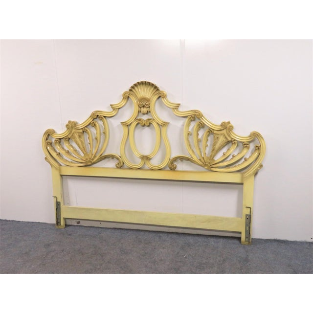 Italian Rococo Cream & Gold Carved King Size Headboard For Sale - Image 4 of 4