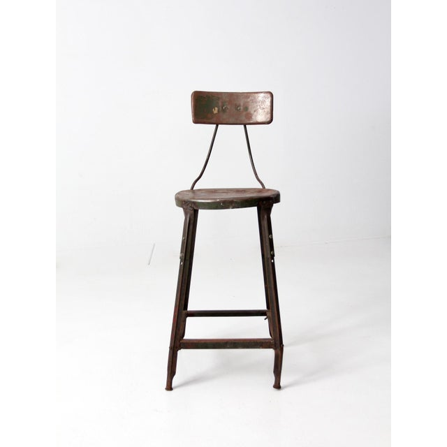 Hallowell Vintage Industrial Drafting Stool For Sale - Image 4 of 10