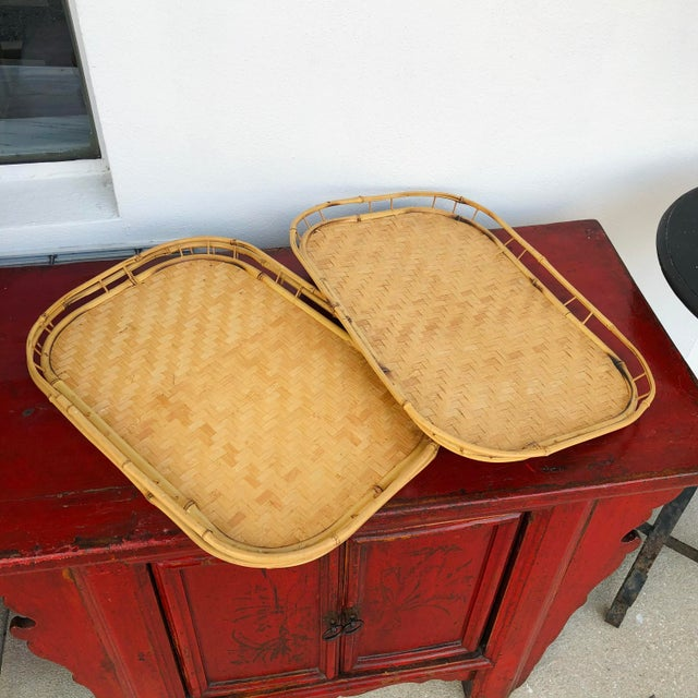 Vintage Mid Century Rattan Serving Trays - Set of 3.