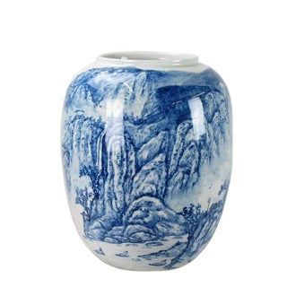 Chinoiserie Blue and White Mountain Detailed Porcelain Vase For Sale