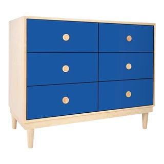 Lukka Modern Kids 6-Drawer Dresser in Maple With Pacific Blue Finish For Sale