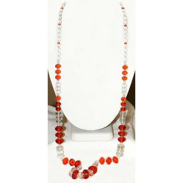 1930s Deco-Era Orange Faceted Glass Long Necklace For Sale - Image 4 of 6