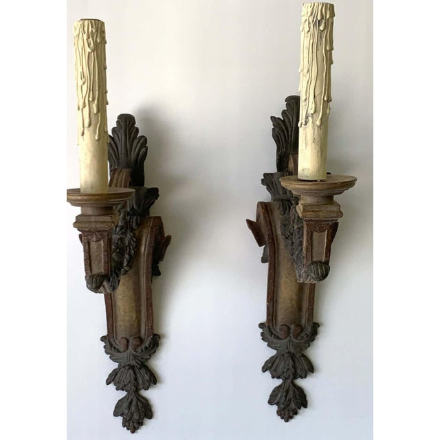 Wood Large Pair of Italian Tuscan Style Polychromed Wood Sconces For Sale - Image 7 of 11